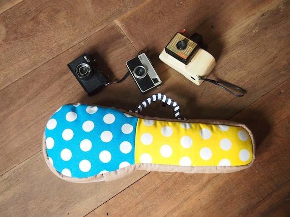 SALE - Summer Rain - Blue and White Polka dot and Yellow and White Polka Dot Ukulele Bag (Soprano Size) Ready to ship