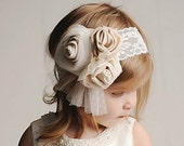 Natural Creamy Flowers Head pieces with vintage lace, tulle and pearls. Ready to ship.
