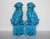 Vintage Foo Dogs, 8in (20cm), Turquoise Blue Chinese Foo Dogs or Temple Guardian Lions