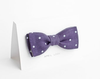 Purple bow tie, polka dot - double sided
