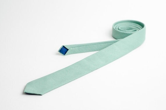 Mens tie, skinny and mint green