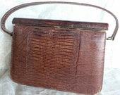 vintage pocketbook handbag crocodile leather skin alligator  from Diz Has Neat Stuff