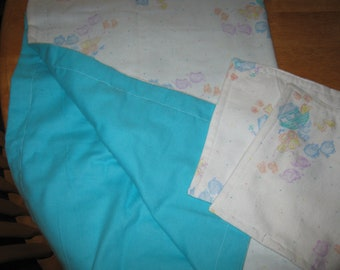 Double Flannel Receiving Baby Blanket - with two wipe/wash cloths