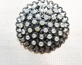 round flower starburst sphere pin : brooch bouquet .. silver metal and gems jewels