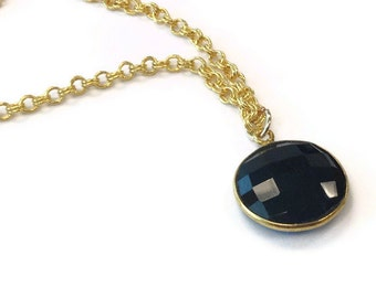 Black Necklace - Black Onyx Pendant - Gold Chain Jewelry - Onyx Gemstone Jewellery - Drop - Charm Layer Stack Fashion Everyday N-311 312