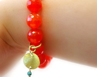Orange Bracelet - Gold Vermeil Jewelry - Gemstone Jewellery - Neon Tangerine - Fluorescent - Agate - Statement - Fashion - Charm B-312 313