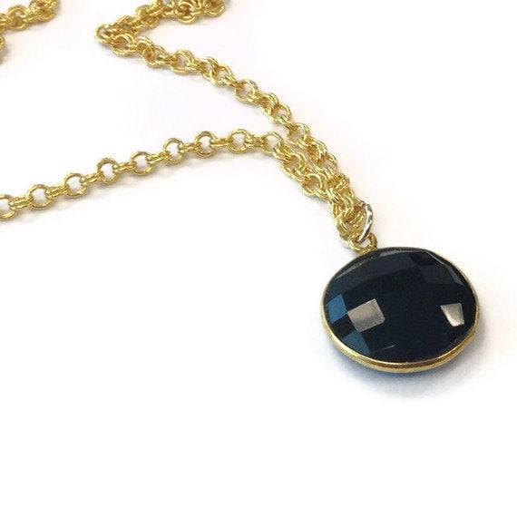 Black Necklace - Black Onyx Pendant - Gold Chain Jewelry - Onyx Gemstone Jewellery - Drop - Charm Layer Stack Fashion Everyday N-311 312