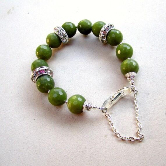 Green Bracelet Silver Jewelry Twelfth Wedding Anniversary Jade Gemstone Crystal Fashion Jewellery Safety Chain B-L