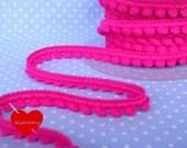 3 meters mini pom-pom trim in hot pink