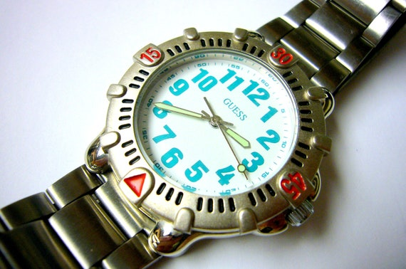 GUESS Watch Wristwatch Green Diver's Model Vintage Wrist Watch Rare Collectable 1991 Model