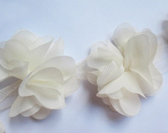 "1 yard 2.5"" Chiffon Flowers Lace Trim-Ivory CH014"