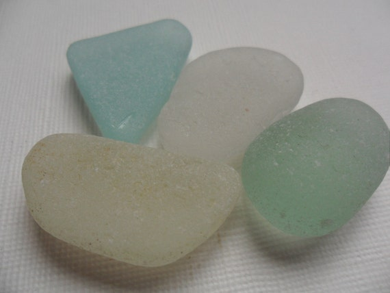 Pretty pastel sea glass x 4 - good sized sugar frosted chunks from England