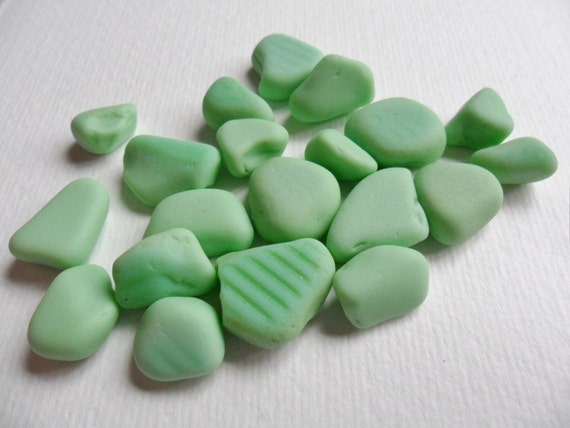 20 small pieces of green MILK sea glass from Northern England