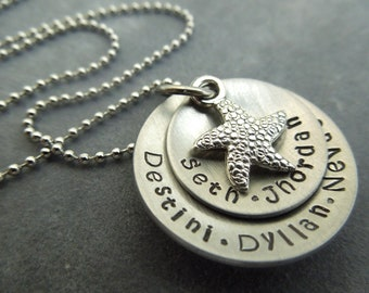 Personalized  necklace, hand stamped, mother, grandmother with starfish charm