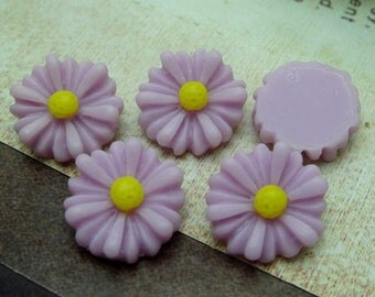 10Pcs Beautiful Sunflower Cabochon -Lt Purple/Yellow ( SU1304)