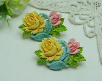 2 Pcs Big Beautiful Rose Cabochon Colourful-Hand Painted(FCN-1211YP)