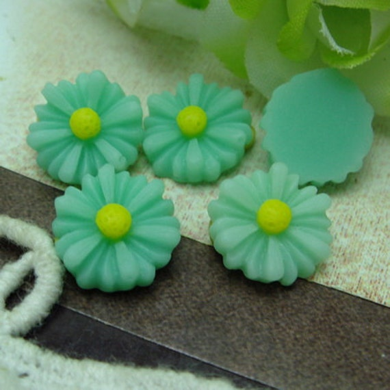10Pcs Beautiful Sunflower Cabochon -Turquoise./Yellow ( SU1303)
