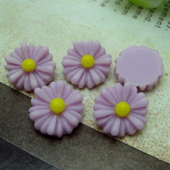 10Pcs Beautiful Sunflower Cabochon -Lt Purple/Yellow ( SU1304)