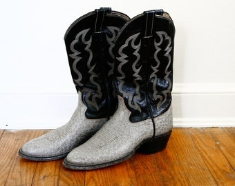 FD Black and Mottled Grey Leather Cowboy Boots // Mens 10 A O'Sullivan Ortho Soled