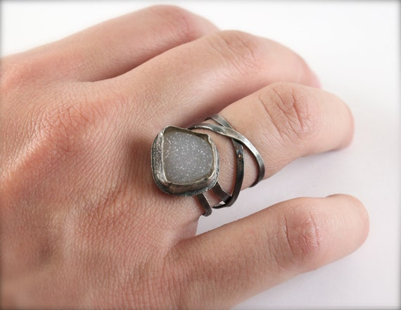 Druzy Quartz Sterling Silver Wraparound Ring- OOAK Rough Stone Ring- Unique-Oxidized- Modern-Sparkling-Size 7