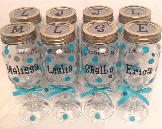 7 Personalized REDNECK WINE GLASSES Bridal Party Bride Bridesmaids Bachelorette Wedding Polka Dots