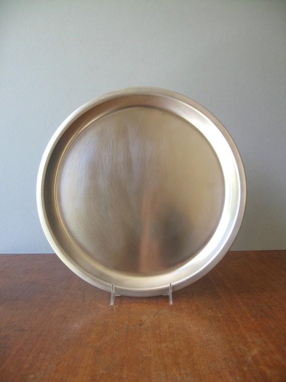 Vintage Danish Modern Serving Tray - Large Stainless