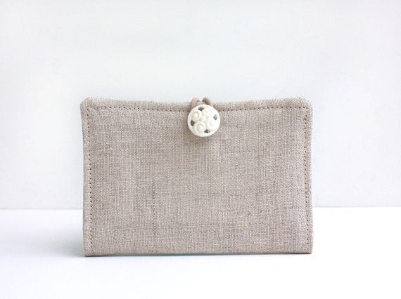 Business Card Holder, Linen, Beige, Natural, Gift Card Holder, Credit Card Case, Bags and Purses