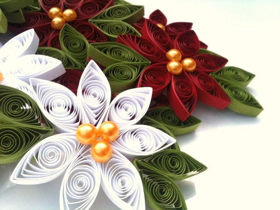 Christmas Ornament Set of Ten Poinsettias in White and Crimson Yellow Pearl Centers