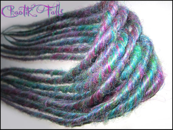 ON SALE Purple and Green Blended Double Ended Synthetic Dreads