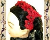 Red hair flowers WEDDING & TRIBAL FUSION jewelry scarlet larkspur hair clips Goth Bellydance Bollywood garb Fantasy Wedding bridesmaids