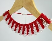 Hand Knit Red Necklace Collar with White Glass Beaded