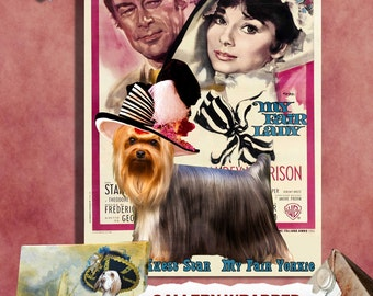 Yorkshire Terrier Vintage Canvas Print  - My Fair Lady Movie Poster by Nobility Dogs