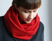 Cowl Scarf / Red / 100 % Wool