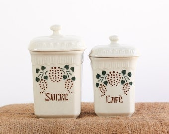 Vintage French Coffee and Sugar Storage Pot or Canister Set for the Kitchen