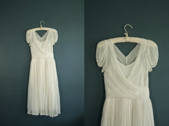 Vintage 1940s Wedding Dress// 40s White Dress