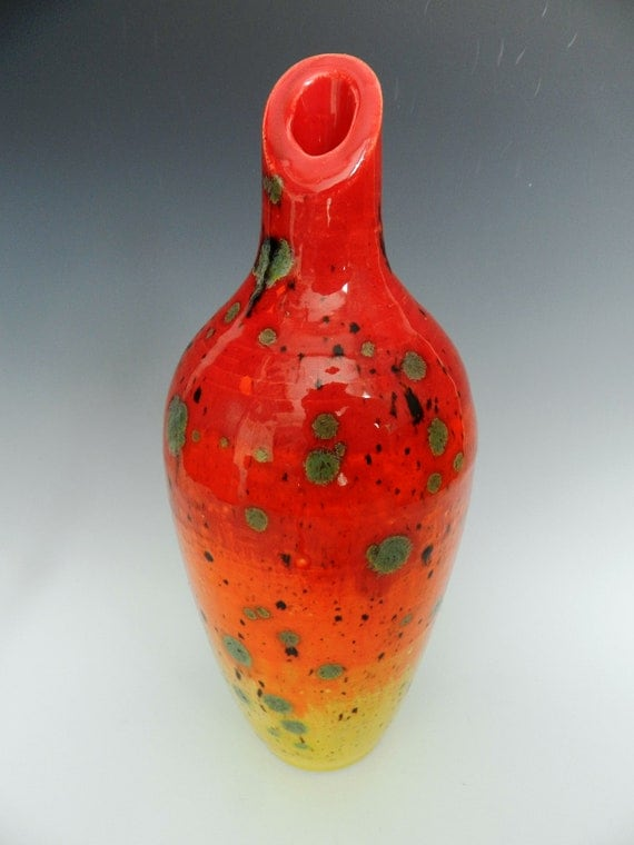 Sunset vase with glaze crystals