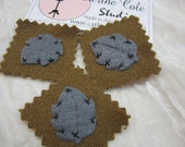 3 pces grey brown  felt leaves woodland  fall leaves leaf felt patch iron on lace trims appliques trimmings Catherine Cole
