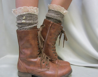 Lace boot socks, short boot socks, combat boot socks, womens boot socks, boot cuff socks NORDIC LACE  Brown Catherine Cole Studio SLX1B