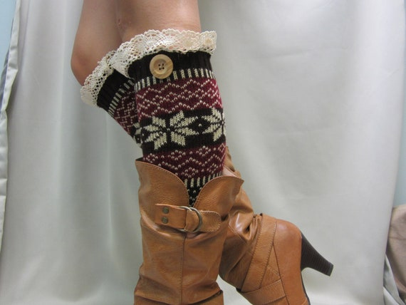 Lace Leg Warmers Ski sweater snowflake pattern 2 colors / womens   great with boots by Catherine Cole Studio legwarmers