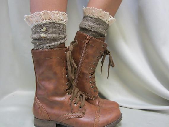 NORDIC LACE Brown short boot socks | Combat lace boot Socks buttons womens cowboy boot socks lace cuff ankle socks ladies | SLX1B