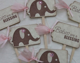 Baby Girl Elephant - Babies Are A Blessing -Cupcake Picks - Food Picks - Baby Shower