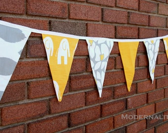 Fabric Garland- Party Bunting Banner- Yellow and Grey Pennant Flags- Wedding Decoration, Baby Shower, Birthday, Holiday Photo Prop