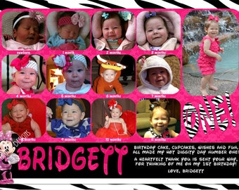 Minnie Mouse First Year Photos Thank You Zebra Hot Pink Customizable Printable 5x7 or 4x6