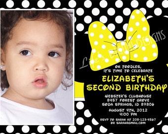 Minnie Mouse Birthday Invitations Minnie Ears and Yellow Polka Dot Bow Photo Option Customizable Printable