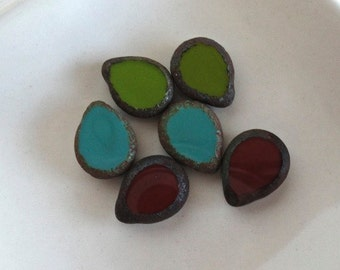 Stone Czech Drops Mix Umber Dark Red-Turquoise-Olive Green with Gray Picasso 12x16mm Beads - 6 Pieces (MD1456)
