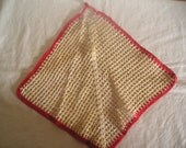 Vintage Red Kitchen Doily Washcloth Potholder