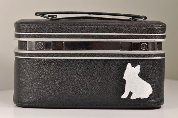 Vintage Black Train Case with Hand-Painted French Bulldog Silhouette by Samsonite