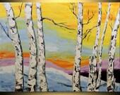 ORIGINAL Birch tree Modern Landscape Fine Art Impasto heavy texture Palette knife oil Yellow White Painting by IraSher