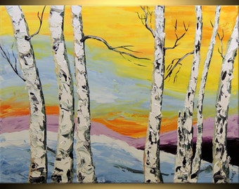 ORIGINAL Birch tree Modern Landscape Fine Art Impasto heavy texture Palette knife oil Yellow White Painting by IraSher