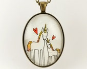 Unicorn Necklace, Mommy And Baby Unicorn Jewelry With Heart, Great Gift for Mom, Mother's Day